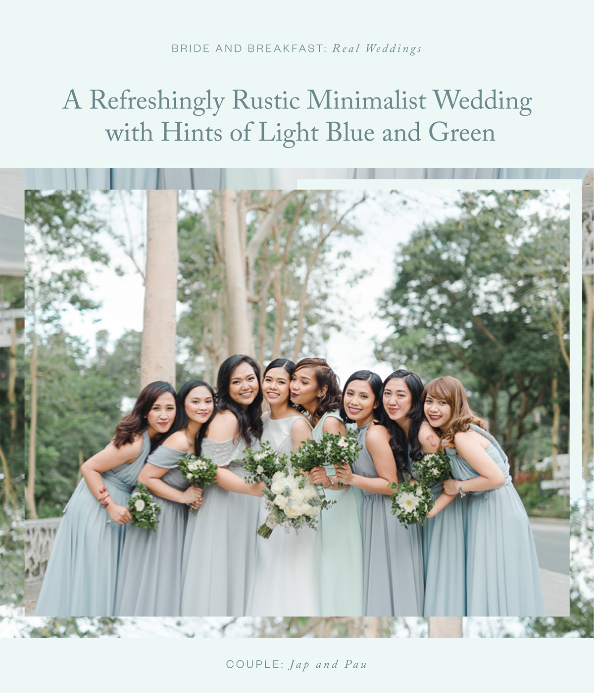 A Refreshingly Rustic Minimalist Wedding with Hints of Light Blue and Green
