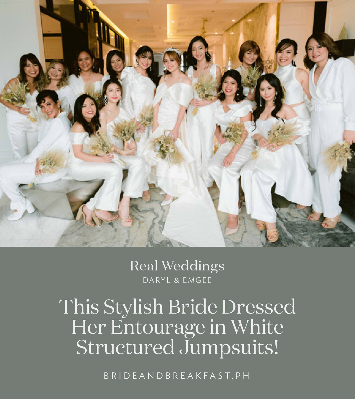 This Stylish Bride Dressed Her Entourage in White Structured Jumpsuits!